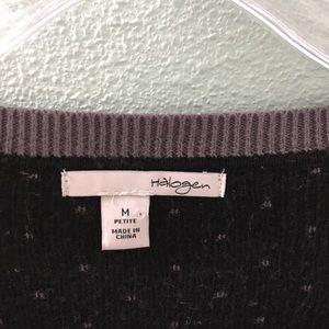 Halogen Sweaters - Halogen Gray & Black Polka Dot Scoop Neck Sweater